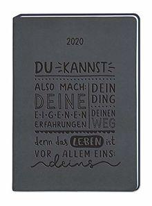 """Terminplaner Lederlook A5 """"Schwarz (Du kannst, also mach)"""" 2020"""