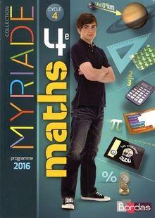 Maths 4e Cycle 4 Myriade