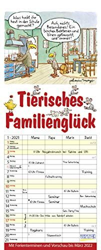 Tierisches Familienglück 2021: Familienplaner - 4 große Spalten mit viel Platz. Familienkalender mit Tier-Comics, Ferienterminen und Vorschau bis März 2022. 19 x 47 cm.