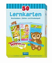 50 Lernkarten: Buchstaben, Zahlen- und Knobelspaß: Schreib- und wisch weg