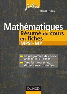 Mathématiques résumé du cours en fiches MPSI-MP