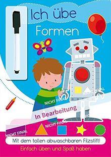 Lernheft mit Stift - Formen: Lernheft mit abwischbarem Filzsstift