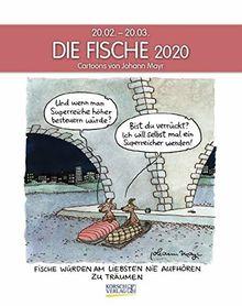 Fische 2020: Sternzeichenkalender-Cartoonkalender als Wandkalender im Format 19 x 24 cm.