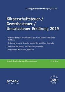 Körperschaftsteuer-, Gewerbesteuer-, Umsatzsteuer-Erklärung 2019