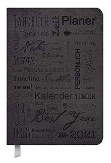 Timer Soft Touch schwarz 2021: Terminplaner in Lederoptik. Terminkalender mit Wochenübersicht und Lesezeichenband. Taschenkalender im Format: 11 x 16 cm