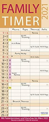 Family Timer Lifestyle 2021: Familienplaner mit 4 breiten Spalten. Hochwertiger Familienkalender mit Ferienterminen, Vorschau bis März 2022 und nützlichen Zusatzinformationen.