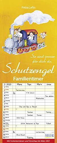 Familientimer Schutzengel 2020: Familienplaner - 4 große Spalten mit viel Platz. Hochwertiger Familienkalender mit netten Sprüchen, Ferienterminen und Vorschau bis März 2021. 19 x 47 cm.