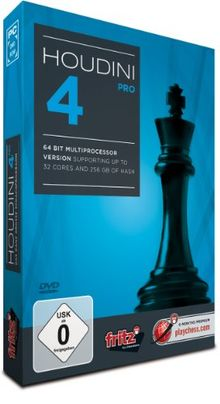 Houdini 4 PRO: PC chess program- 64 Bit Multiprocessorversion supports up to 32 cores & 256 GB of hash memory