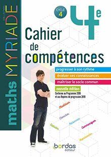 Maths 4e Myriade Cycle 4 : Cahier de compétences
