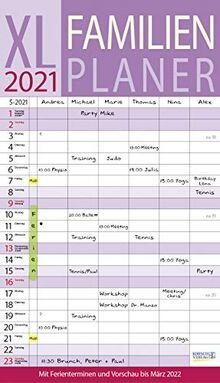 XL Familienplaner 2021: Familienkalender mit 6 breiten Spalten. Hochwertiger Familientimer mit Ferienterminen, extra Spalte, Vorschau bis März 2022 und nützlichen Zusatzinformationen.