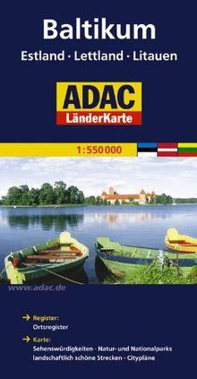 ADAC Länderkarte Baltikum, Estland, Lettland, Littauen. 1:700.000: Register: Citypläne, Ortsregister. Karte: Sehenswürdigkeiten, Natur- und Nationalparks, landschaftlich schöne Strecken