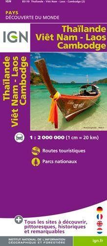 Thaïlande Viêtnam Laos Cambodge 1 : 2 000 000: Carte touristique. Découverte des pays du monde. Routes. Autoroutes. Informations touristiques