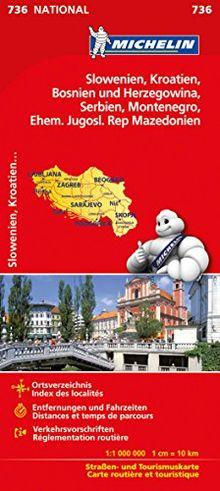 Michelin Slowenien Montenegro Bosnien Kroatien Serbien: Straßen- und Tourismuskarte (Michelin Nationalkarte)