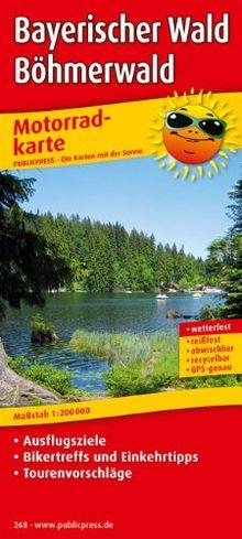 Motorradkarte Bayerischer Wald - Böhmerwald: Mit Ausflugszielen, Einkehr- und Freizeittipps und Tourenvorschlägen, wetterfest, reißfest, abwischbar, GPS-genau. 1:200000
