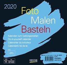 Foto-Malen-Basteln Bastelkalender schwarz quer 2020: Fotokalender zum Selbstgestalten. Do-it-yourself Kalender mit festem Fotokarton. Format: 16 x 15,5 cm