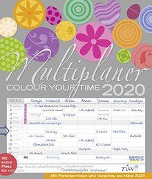 Multiplaner - Colour your time 2020: Familienplaner, 7 breite Spalten. Großer Familienkalender mit Ferienterminen, extra Spalte, Vorschau für 2021 und Datumsschieber. Format: 40x47 cm
