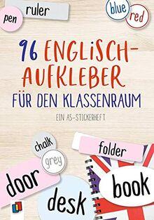 96 Englisch-Aufkleber für den Klassenraum: Ein A5-Stickerheft
