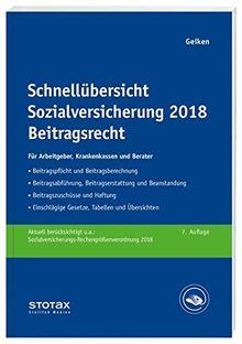 Schnellübersicht Sozialversicherung 2018 Beitragsrecht: Für Arbeitgeber, Krankenkassen und Berater