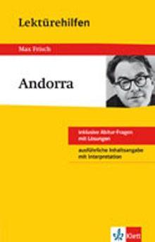 """Lektürehilfen Max Frisch """"Andorra"""": Inklusive Abitur-Fragen mit Lösung. Ausführliche Inhaltsangabe mit Interpretation"""
