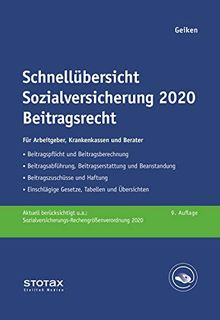 Schnellübersicht Sozialversicherung 2020 Beitragsrecht: Für Arbeitgeber, Krankenkassen und Berater