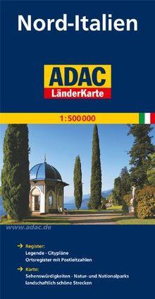 ADAC Länderkarte Nord-Italien 1:500.000: Register: Legende, Citypläne, Ortsregister mit Postleitzahlen. Karte: Sehenswürdigkeiten, Natur- und Nationalparks, landschaftlich schöne Strecken