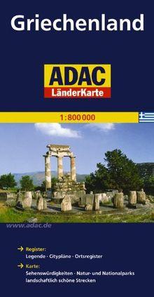 ADAC LänderKarte Griechenland 1:800 000: Register: Legende, Citypläne, Ortstegister mit Postleitzahlen. Karte: Sehenswürdigkeiten, Natur- und Nationalparks, lanfschaftlich schöne Strecken