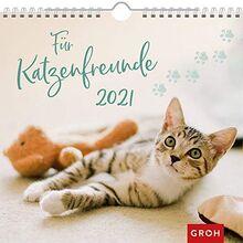 Für Katzenfreunde 2021: Dekorativer Wandkalender mit Monatskalendarium