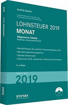 Tabelle, Lohnsteuer 2019 Monat: mit 8 % + 9 % Kirchensteuer