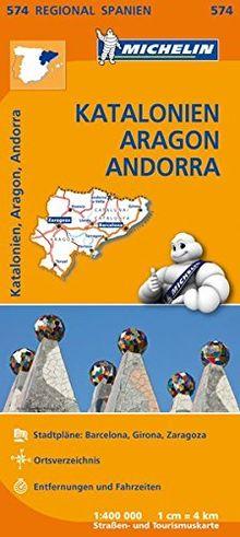 Michelin Katalonien, Aragon, Andorra: Straßen- und Tourismuskarte 1:400.000 (MICHELIN Regionalkarten)