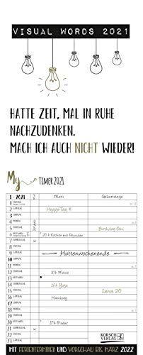 My Timer Visual Words 2021: Planer mit 2 breiten Spalten. Typo-Art Familienkalender mit Ferienterminen, Vorschau bis März 2022 und vielem mehr.