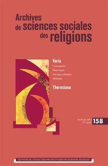 Archives de sciences sociales des religions, N°158, avril-juin 20 :