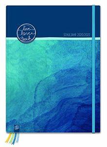 """Mein Lehrerplaner A5+ """"live - love - teach"""" - ozeanblau - Lehrerkalender für das Schuljahr 2020/2021 - Schulplaner für LehrerInnen: inklusive 8 Stickerbogen, Dreieckstasche und 24 perforierten Seiten"""