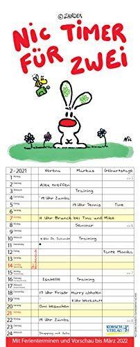 Nic - Timer für zwei 2021: Familienplaner mit 3 breiten Spalten. Familienkalender mit Liebes-Zeichnungen, Ferienterminen, Vorschau bis März 2022 und tollen Extras. 19 x 47 cm.