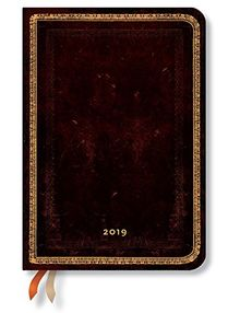 Paperblanks Terminplaner 2019 mit Lesebändchen & Innentasche | Black Moroccan | Woche für Woche (horizontal) | Midi (170 x 120 mm)