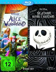 Tim Burton 2-Film-Set (3 Discs): Alice im Wunderland/Nightmare before Christmas [Blu-ray]
