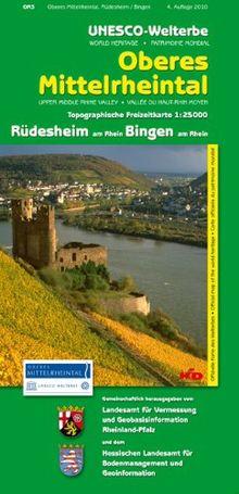 UNESCO-Welterbe - Oberes Mittelrheintal Rüdesheim am Rhein, Bingen am Rhein (WR): Topographische Karte 1:25000 mit Wander- und Radwanderwegen mit Rhein- und Soonwaldsteig