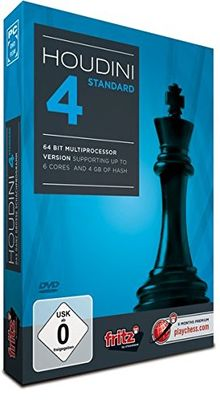 Houdini 4 Standard: PC chess program- 64 Bit Multiprocessorversion supports up to 6 cores & 4 GB of hash memory