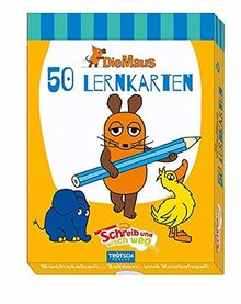 """Lernkarten """"Die Maus"""": Schreib-und-wisch-weg in Box mit Stift und integriertem Schwämmchen"""