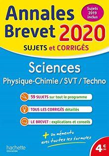 Sciences : Physique-Chimie, SVT, Technologie : Sujets et corrigés