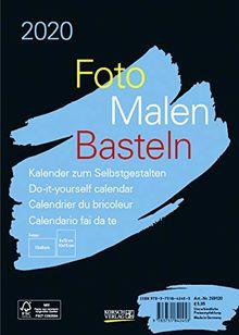 Foto-Malen-Basteln Bastelkalender A5 schwarz 2020: Fotokalender zum Selbstgestalten. Aufstellbarer do-it-yourself Kalender mit festem Fotokarton.