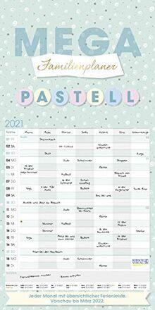 Mega Familienplaner Pastell 2021: Familienplaner, 7 breite Spalten. Extra großer Familienkalender mit Ferienterminen, Vorschau bis März 2022. Format: 30x60 cm