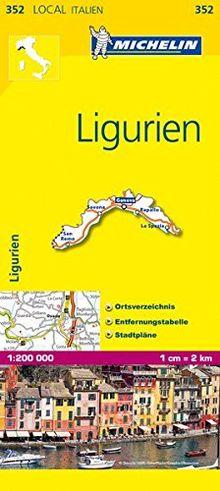 Michelin Ligurien: Straßen- und Tourismuskarte 1:200.000 (MICHELIN Localkarten, Band 352)