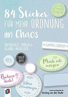 """84 Sticker für mehr Ordnung im Chaos """"Live-love-teach"""": Humorvolle Sprüche und Blanko-Aufkleber"""