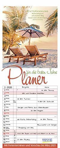 Planer für die besten Jahre 2020: Familienplaner mit 3 breiten Spalten. Familienkalender, literarischer Rentner-planer mit Ferienterminen, Vorschau bis März 2021 und tollen Extras. 19 x 47 cm.