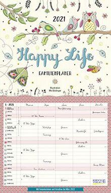 Happy Life 2021: Familienplaner, 5 große Spalten. Mit Ferienterminen, extra Spalte und Vorschau für 2022. Format: 27 x 47 cm