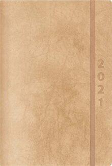 ReLeather Daily natur 2021: Terminplaner groß. DIN A5 Termin-kalender mit Vintage-leder und Tageskalendarium.