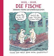Die Fische: Witziges Cartoon Sternzeichen-Geschenkbuch im Format 11,5 x 11,5 cm