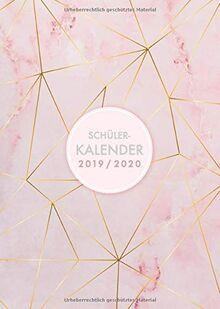 Schülerkalender 2019-2020: August 2019 bis August 2020, modernes Marble Cover Design mit rose-gold Pattern, Wochen- und Monatsplaner für Schüler, 1 Woche auf 2 Seiten, 15x21 cm